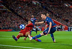 LIVERPOOL, ENGLAND - Wednesday, October 24, 2018: Liverpool's Joe Gomez and FK Crvena zvezda Slavoljub Srnić during the UEFA Champions League Group C match between Liverpool FC and FK Crvena zvezda (Red Star Belgrade) at Anfield. (Pic by David Rawcliffe/Propaganda)