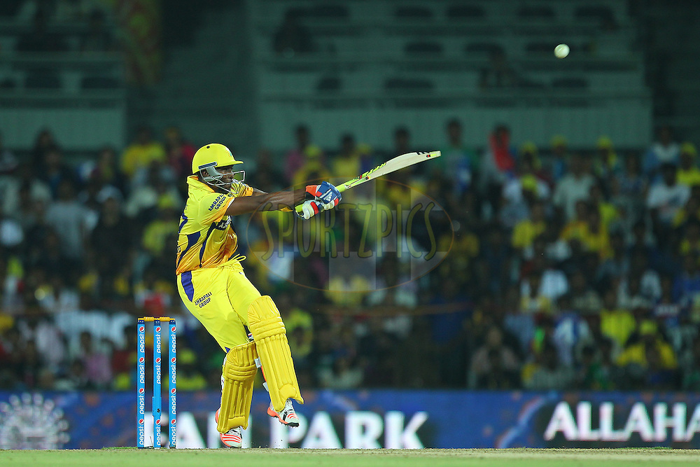 Dwayne Bravo of the Chennai Superkings pulls during match 47 of the Pepsi IPL 2015 (Indian Premier League) between The Chennai Superkings and The Rajasthan Royals held at the M. A. Chidambaram Stadium, Chennai Stadium in Chennai, India on the 10th May 2015.<br /> <br /> Photo by:  Ron Gaunt / SPORTZPICS / IPL