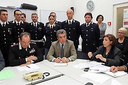 TERREMOTO NEL FERRARESE 2012: ASSEMBLEA FORZE DELL'ORDINE IN PREFETTURA. ANTONIO LABIANCO, QUESTORE MAURIELLO, PREFETTO PROVVIDENZA RAIMONDO