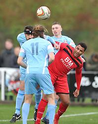 SLOUGHS ALAN AINNS HOLDS OF KETTERING RENE HOWE, Kettering Town v Slough Town, Evostick South Premier League Latimer Park, Saturday 21st October 2017 Score 0-0 Att 824.