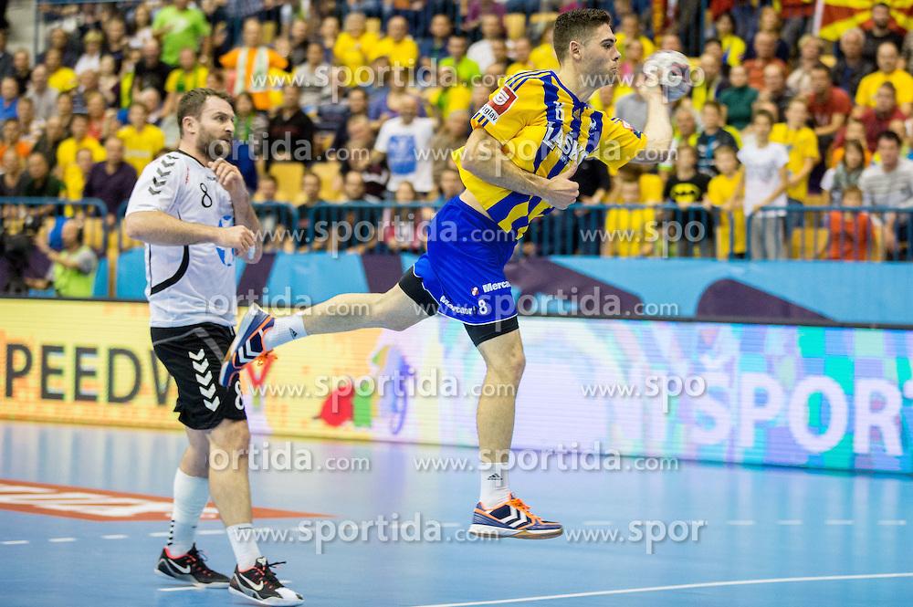 Blaz Janc of Celje PL during handball match between RK Celje Pivovarna Lasko and HC Vardar Skopje (MKD) in 1st Round of Group C of EHF Champions League 2014/15, on September 27, 2014 in Arena Zlatorog, Celje, Slovenia. Photo by Vid Ponikvar / Sportida.com