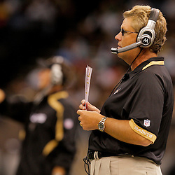 2009 August 14: New Orleans Saints defensive coordinator Gregg Williams calls a play from the sideline during a preseason opener between the Cincinnati Bengals and the New Orleans Saints at the Louisiana Superdome in New Orleans, Louisiana.