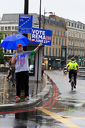 UK ENGLAND LONDON 23JUN16 - Vote Remain campaigner Phil Gardner holds a 'vote in' sign outside Kings Cross Station, London.<br /> <br /> jre/Photo by Jiri Rezac<br /> <br /> © Jiri Rezac 2016
