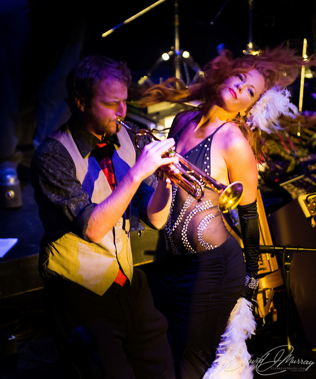 """Trumpeter """"Dutch"""" and singer/dancer """"Peaches Mahoney"""" perform with Vaud and the Villains at The Music Hall in Portsmouth, NH. July 2012."""