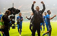 05/11/15 UEFA EUROPA LEAGUE GROUP STAGE<br /> CELTIC v MOLDE FK<br /> CELTIC PARK - GLASGOW<br /> Molde manager Ole Gunnar Solksjaer celebrates at full-time