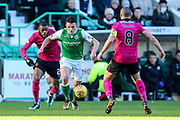 John McGinn (#7) of Hibernian looks to take on Scott Brown (#8) of Celtic during the Ladbrokes Scottish Premiership match between Hibernian and Celtic at Easter Road, Edinburgh, Scotland on 10 December 2017. Photo by Craig Doyle.
