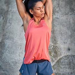 Zurich August 2019, Urban Workout<br /> Priscila Leimbacher IFBB Pro Training with On Running apparel in the Stadelhofen train station<br /> Phozographer Jürg Kaufmann