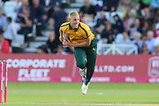 Luke Wood of Nottinghamshire Outlaws bowling during the Vitality T20 Blast North Group match between Nottinghamshire County Cricket Club and Worcestershire County Cricket Club at Trent Bridge, West Bridgford, United Kingdon on 18 July 2019.