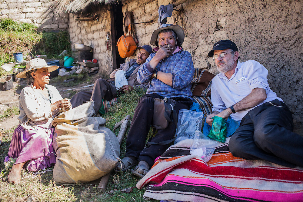 Italian doctor Pietro Gamba with his patients in Challviri, near Cochabamba, in the Bolivian Andes