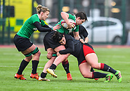 Ireland women's Ciara Griffin is tackled by Wales women's Rebecca De Filippo<br /> <br /> Photographer Craig Thomas/Replay Images<br /> <br /> International Friendly - Wales women v Ireland women - Sunday 21th January 2018 - CCB Centre for Sporting Excellence - Ystrad Mynach<br /> <br /> World Copyright © Replay Images . All rights reserved. info@replayimages.co.uk - http://replayimages.co.uk