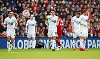 Football - 2018 / 2019 Premier League - Liverpool vs. Burnley<br /> <br /> Ashley Westwood of Burnley celebrates at Anfield.<br /> <br /> COLORSPORT/LYNNE CAMERON