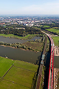 Nederland, Overijssel, Gemeente Hattum, 03-10-2010; bestaande spoorbrug over de IJssel en nieuwe spoorbrug voor de Hanzelijn..Existing railway bridge over the IJssel and the new railway bridge Hanzelijn.luchtfoto (toeslag), aerial photo (additional fee required).foto/photo Siebe Swart