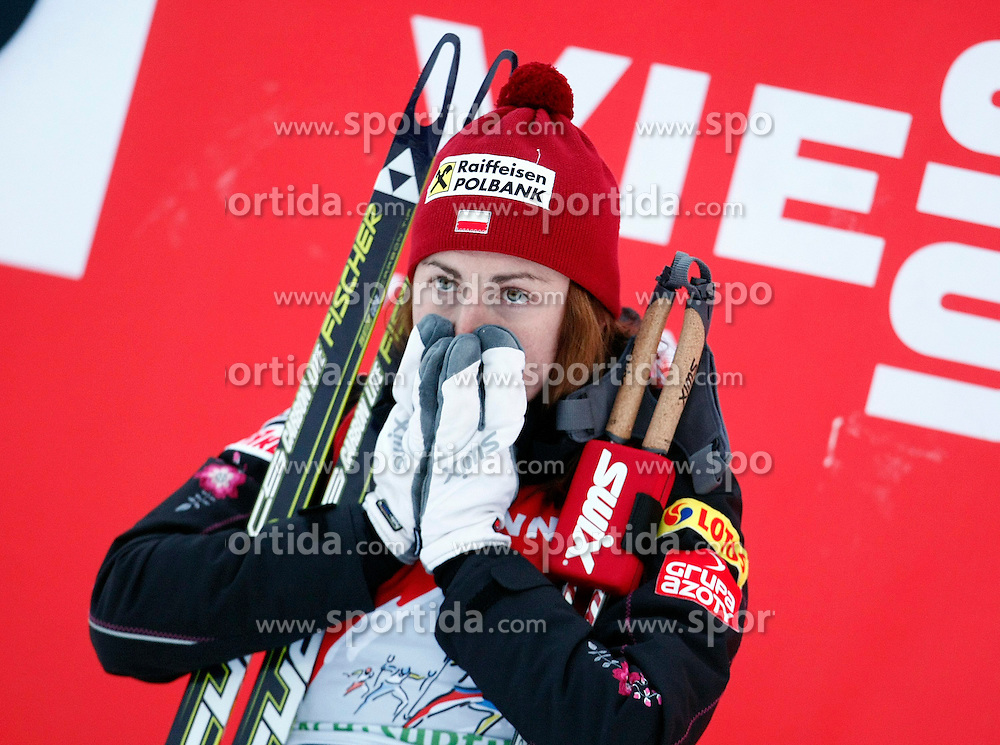 03.01.2013, Nordische Arena, Toblach, ITA, FIS Langlauf Weltcup, Tour de Ski 2013, Damen, 15km Verfolgung, Podium, im Bild Justyna Kowalczyk celebrate on Podium // during Ladies 15 km Free Pursuit of the Tour de Ski 2013 of the FIS cross country world cup at nordic arena in Dobiacco, Italy on 2013/01/03. EXPA Pictures © 2013, PhotoCredit: EXPA/ Newspix/ Irek Dorozanski..***** ATTENTION - for AUT, SLO, CRO, SRB, BIH, TUR, SUI and SWE only *****