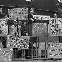 Members of the engineering worker&rsquo;s union AUEW at Firth-Derihon Stampings, Tinsley, Sheffield occupy their factory in a protest against proposed redundancies. <br /> 7 April 1983