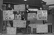 Members of the engineering worker&rsquo;s union AEUW at Firth-Derihon Stampings, Tinsley, Sheffield occupy their factory in a protest against proposed redundancies. <br /> 7 April 1983