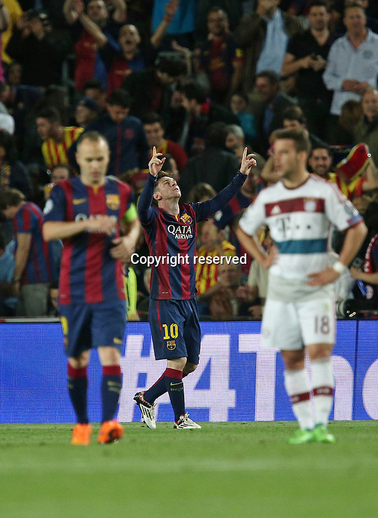 06.05.2015. Nou Camp, Barcelona, Spain, UEFA Champions League semi-final. Barcelona versus Bayern Munich.  Goal celebrations from Lionel Messi (FC Barcelona) as he scores for 2-0