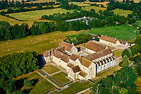 France, Cher (18), Berry, Abbaye de Noirlac 12e -14e sicèle, ordre de Citeaux, vue aérienne, route Jacques Coeur // France, Cher (18), Berry, Noirlac Abbey, 12th to 14th century, Cistercian, aerial view,  the Jacques Coeur road