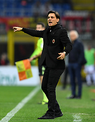 MILAN, March 19, 2017  AC Milan's head coach Vincenzo Montella gestures during a Serie A soccer match between AC Milan and Genoa, in Milan, Italy, March 18, 2017. AC Milan won 1-0. (Credit Image: © Alberto Lingria/Xinhua via ZUMA Wire)