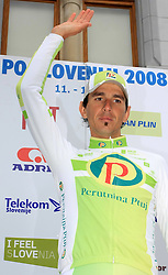 The best in mountain overall classification Mitja Mahoric of Slovenia (Perutnina Ptuj) at the end of last 4th stage of the 15th Tour de Slovenie from Celje to Novo mesto (157 km), on June 14,2008, Slovenia. (Photo by Vid Ponikvar / Sportal Images)/ Sportida)