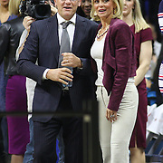 STORRS, CONNECTICUT- NOVEMBER 17: UConn head coach Geno Auriemma with Baylor head coach Kim Mulkey before the UConn Huskies Vs Baylor Bears NCAA Women's Basketball game at Gampel Pavilion, on November 17th, 2016 in Storrs, Connecticut. (Photo by Tim Clayton/Corbis via Getty Images)