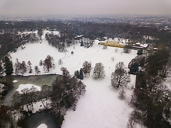 Kenwood House on Hampstead Heath is nestled into the wintery landscape as three inches of snow covers the ground in North London. Hampstead, London, February 01 2019.