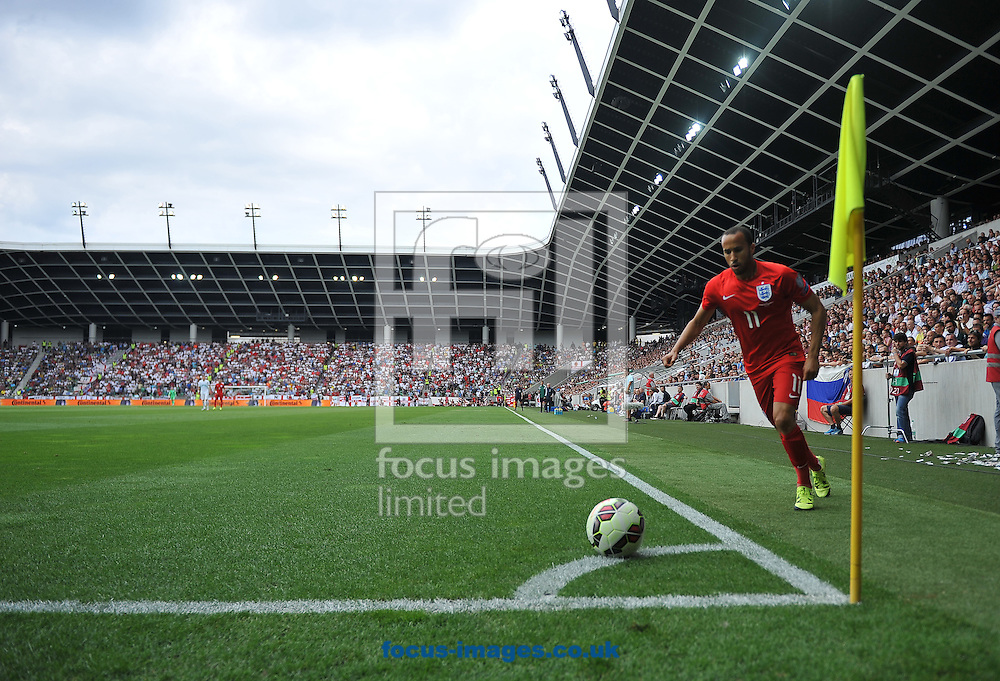 Andros Townsend of England takes a corner during the UEFA Euro 2016 Qualifying match at Stozice Stadium, Ljubljana<br /> Picture by Stefano Gnech/Focus Images Ltd +39 333 1641678<br /> 14/06/2015