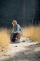 Woman hiking near Fallen Leaf Lake. Lake Tahoe, CA