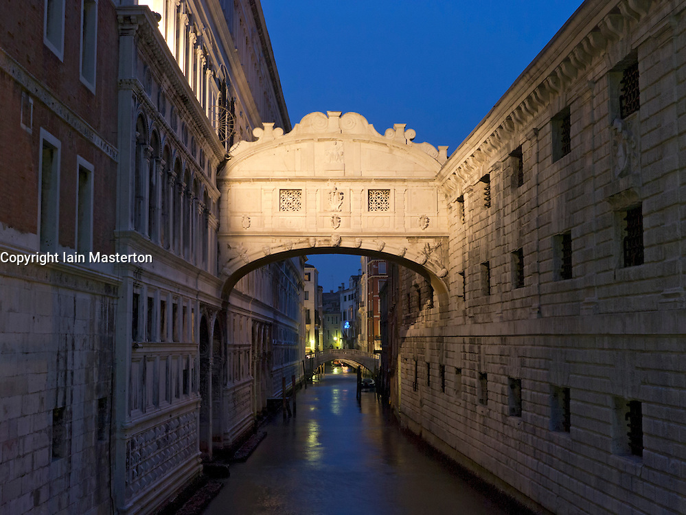 Bridge of Sighs at night  in Venice Italy