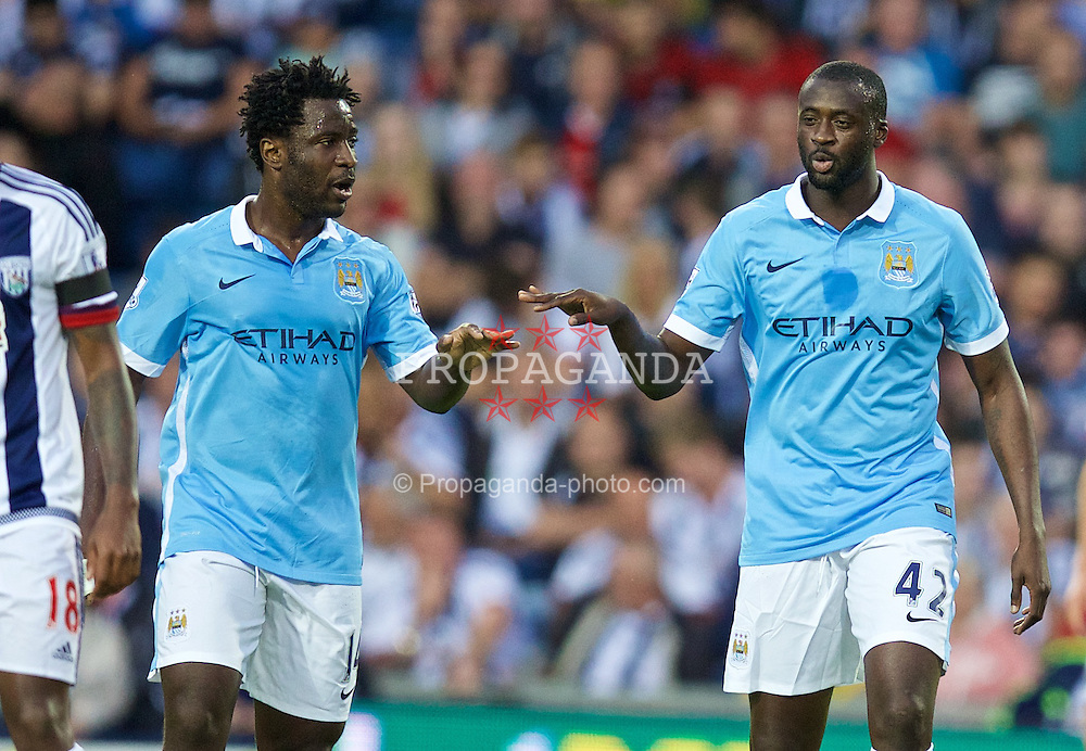 WEST BROMWICH, ENGLAND - Monday, August 10, 2015: Manchester City's Yaya Toure celebrates scoring the first goal against West Bromwich Albionwith team-mate Wilfried Bony during the Premier League match at the Hawthorns. (Pic by David Rawcliffe/Propaganda)