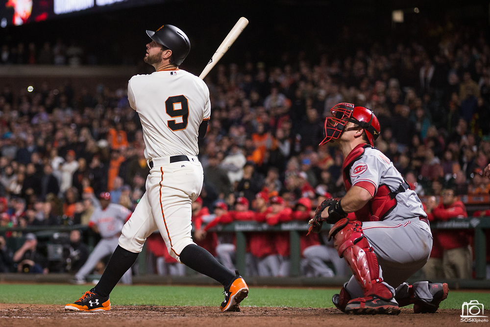 San Francisco Giants first baseman Brandon Belt (9) watches a pop fly get caught to end the game against the Cincinnati Reds at AT&T Park in San Francisco, California, on May 11, 2017. (Stan Olszewski/Special to S.F. Examiner)