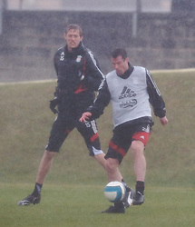 LIVERPOOL, ENGLAND - Friday, March 28, 2008: Liverpool's Jamie Carragher and Peter Crouch training at Melwood ahead of the Merseyside Derby match against Everton. (Photo by David Rawcliffe/Propaganda)