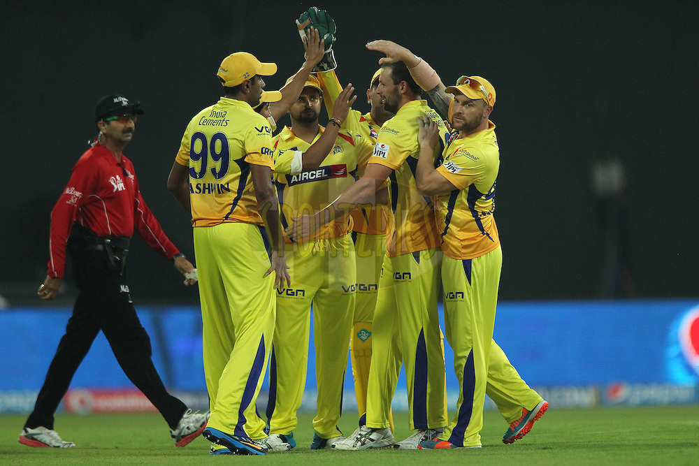 Ben Hilfenhaus of The Chennai Superkings celebrates the wicket of Shikhar Dhawan captain of the Sunrisers Hyderabad during match 17 of the Pepsi Indian Premier League 2014 between the Sunrisers Hyderabad and the Chennai Superkings held at the Sharjah Cricket Stadium, Sharjah, United Arab Emirates on the 27th April 2014<br /> <br /> Photo by Ron Gaunt / IPL / SPORTZPICS