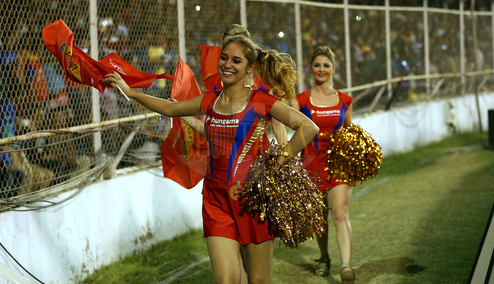 Cheer Girls of Royal Challengers Bangalore arrives for the match 22 of the Pepsi IPL 2015 (Indian Premier League) between The Rajasthan Royals and The Royal Challengers Bangalore held at the Sardar Patel Stadium in Ahmedabad , India on the 24th April 2015.<br /> <br /> Photo by:  Sandeep Shetty / SPORTZPICS / IPL