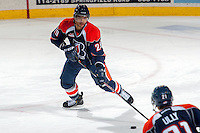 KELOWNA, CANADA -FEBRUARY 1: Edson Harlacher D #29 of the Kamloops Blazers skates with the puck against the Kelowna Rockets on February 1, 2014 at Prospera Place in Kelowna, British Columbia, Canada.   (Photo by Marissa Baecker/Getty Images)  *** Local Caption *** Edson Harlacher;
