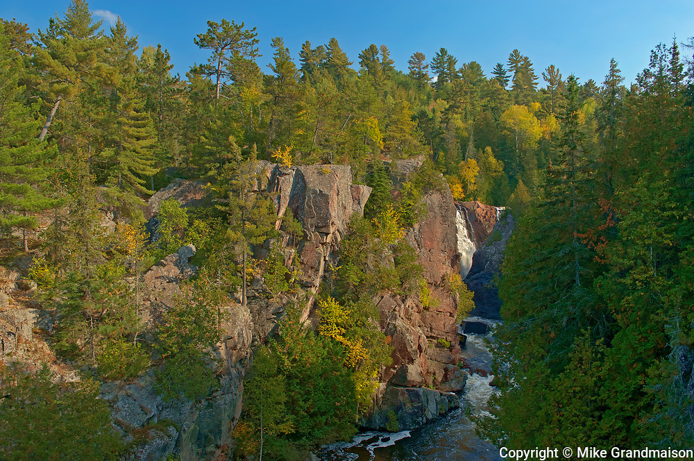 Mississagi River flows over the Precambrian Shield rock at Aubrey Falls <br />
