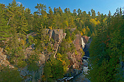 Mississagi River flows over the Precambrian Shield rock at Aubrey Falls <br />Aubrey Falls Provincial Park<br />Ontario<br />Canada