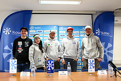 Rok Marguc, Gloria Kotnik, Tim Mastnak, Zan Kosir and Izidor Sustersic  at press conference of Slovenian Snowboard Team on January 4, 2019 in SZS, Ljubljana, Slovenia. Photo by Matic Klansek Velej / Sportida