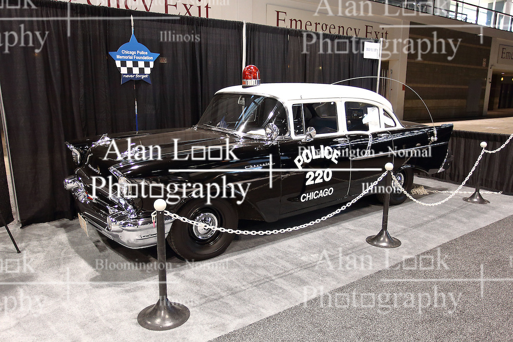 09 February 2017: 1957 Chevrolet Model 150 Chicago Police car<br /> <br /> First staged in 1901, the Chicago Auto Show is the largest auto show in North America and has been held more times than any other auto exposition on the continent.  It has been  presented by the Chicago Automobile Trade Association (CATA) since 1935.  It is held at McCormick Place, Chicago Illinois<br /> #CAS17
