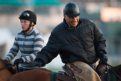 Trainer D. Wayne Lukas, right, talks with Bob Baffert during workouts Tuesday, April 30, 2013 at Churchill Downs in Louisville. Photo by Jonathan Palmer