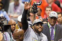 3 February 2013: Linebacker (52) Ray Lewis of the Baltimore Ravens celebrates and walks off the field for the last time as a player after defeating the San Francisco 49ers in Superbowl XLVII at the Mercedes-Benz Superdome in New Orleans, LA.