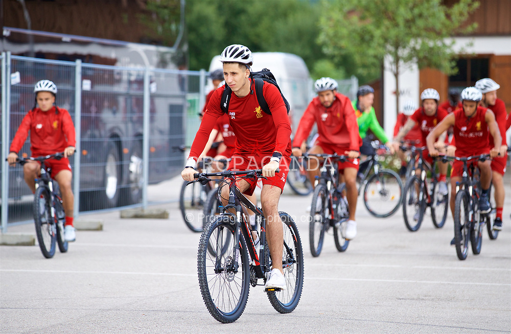 ROTTACH-EGERN, GERMANY - Friday, July 28, 2017: Liverpool's goalkeeper Kamil Grabara on a bike after a training session at FC Rottach-Egern on day three of the preseason training camp in Germany. (Pic by David Rawcliffe/Propaganda)