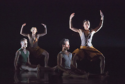 """© Licensed to London News Pictures. 18/11/2014. London, England. Adam Park, Simone Damberg Würtz, Dane Hurst and Vanessa King performing Terra Incognita choreographed by Shobana Jeyasingh. British dance company """"Rambert"""" perform their new show """"Triptych"""" at Sadler's Wells Theatre from 18 to 22 November 2014. Choreographed by Shobana Jeyasingh with Luke Ahmet, Lucy Balfour, Adam Blyde, Carolyn Bolton, Simone Damberg Würtz, Dane Hurt, Vanessa King, Adam Park, Hannah Rudd and Pierre Tappon dancing. Photo credit: Bettina Strenske/LNP"""