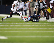 Ole Miss wide receiver Vince Sanders (10) makes a catch vs. Texas A&M defensive back Tramain Jacobs (7) in Oxford, Miss. on Saturday, October 6, 2012. Texas A&M won 30-27...