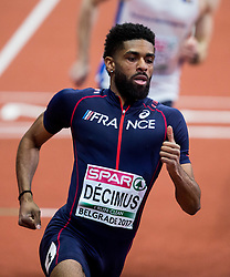 Yoan Decimus of France competes in the Men's 400 metres heats on day one of the 2017 European Athletics Indoor Championships at the Kombank Arena on March 3, 2017 in Belgrade, Serbia. Photo by Vid Ponikvar / Sportida