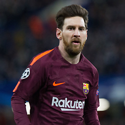 Lionel Messi of Barcelona during the Champions League match between Chelsea and Brcelona at Stamford Bridge, London on Tuesday 20th February 2018.  (C) Steven Morris | SportPix.org.uk