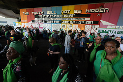 © Licensed to London News Pictures. 14/06/2018. London, UK. Thousands of people take part in a silent march to commemorate the 1st Anniversary of the Grenfell Tower fire disaster. Photo credit: Ray Tang/LNP