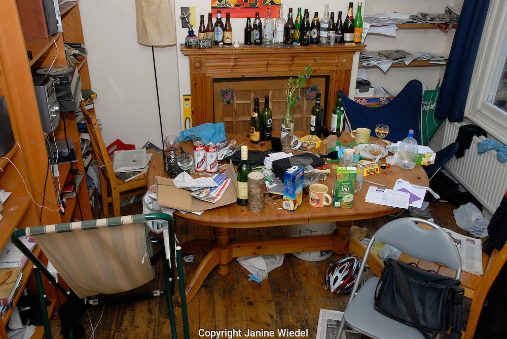 Dining table the morning after a party in Student house.