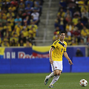 James Rodriguez, Colombia, in action during the Columbia Vs Canada friendly international football match at Red Bull Arena, Harrison, New Jersey. USA. 14th October 2014. Photo Tim Clayton