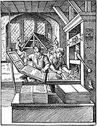The Printer's Workshop. Woodcut by Jost Amman from Hartmann Schopper 'Panoplia', Frankfort-am-Main, 1568