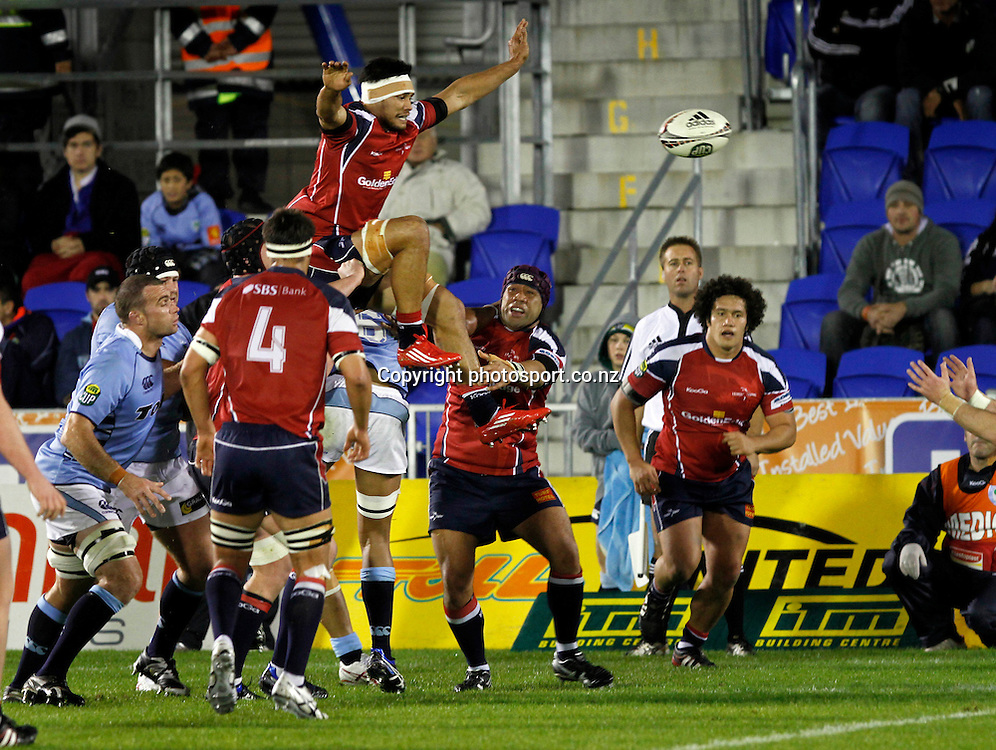 Tasman forward Shane Christie feeds line out ball to his half back against the Northland pack in the ITM Cup Northland v Tasman, 16 July 2011 played at Toll Stadium Whangarei, New Zealand 16 July 2011. Photo: Kenny Rodger/ photosport.co.nz